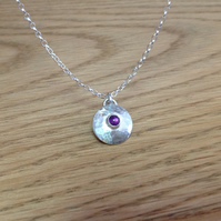 Amethyst Sterling and Fine silver dainty gemstone pendant necklace
