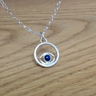Sterling and Fine silver 'Watchful eye' Lapis Lazuli pendant necklace
