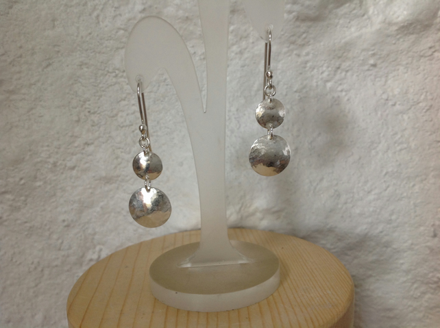 Sterling silver disc dangle drop earrings