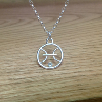 Sterling silver 'Pisces' birth sign Aquamarine pendant necklace