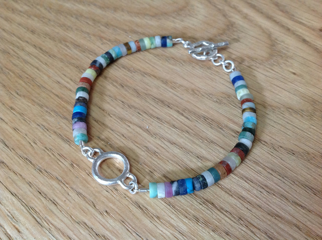 Sterling silver mixed gemstone 'Calming' dainty bracelet