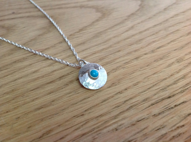 Turquoise Sterling and Fine silver dainty gemstone pendant necklace