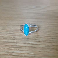 Turquoise Sterling and Fine silver double band ring