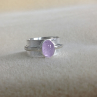Wide double band Sterling and Fine silver Amethyst or Peruvian Amazonite ring