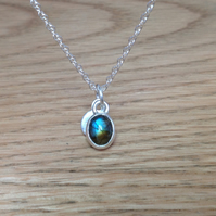 Labradorite Sterling and Fine silver dainty charm disc pendant necklace