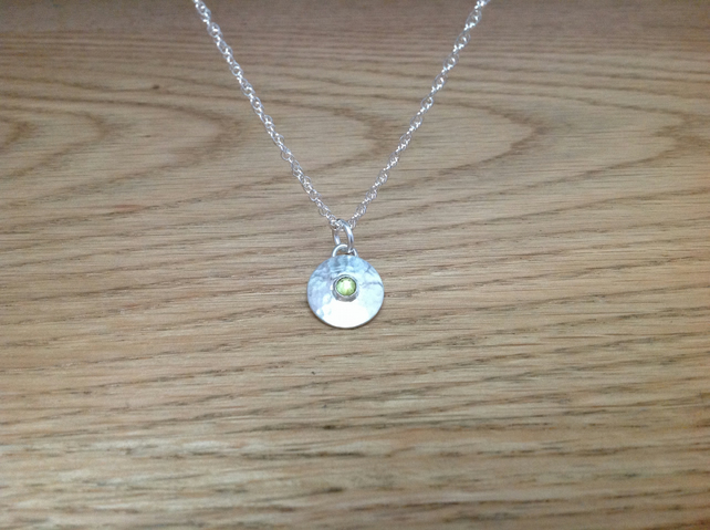 Peridot Sterling and Fine silver dainty gemstone pendant necklace