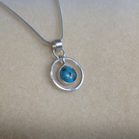 Turquoise Sterling and Fine silver 'Tick tock' pendant necklace