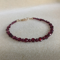 Garnet Gold filled dainty gemstone beaded bracelet