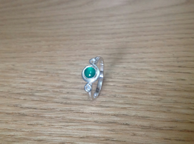Green Onyx sterling and Fine silver embellished gemstone ring
