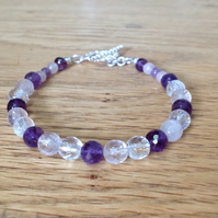 Amethyst, Rose Quartz and clear Crystal Sterling silver gemstone beaded bracelet