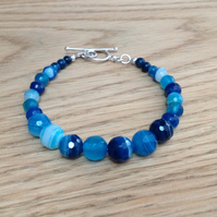 Blue faceted Agate Sterling silver beaded bracelet