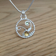 Sterling silver Citrine and Peridot 'Precious Garden' gemstone pendant necklace