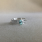 Lander Turquoise and Sterling silver Unisex 6mm wide double band textured ring