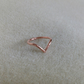 Solid Copper Wishbone Pointed Chevron Unisex dainty ring
