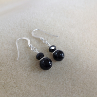 Black Spinel and Sterling silver dainty earrings