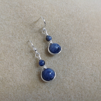 Blue Sodalite and Sterling silver wire wrapped drop earrings