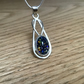 Sterling and Fine silver blue Dichroic glass fancy pendant necklace
