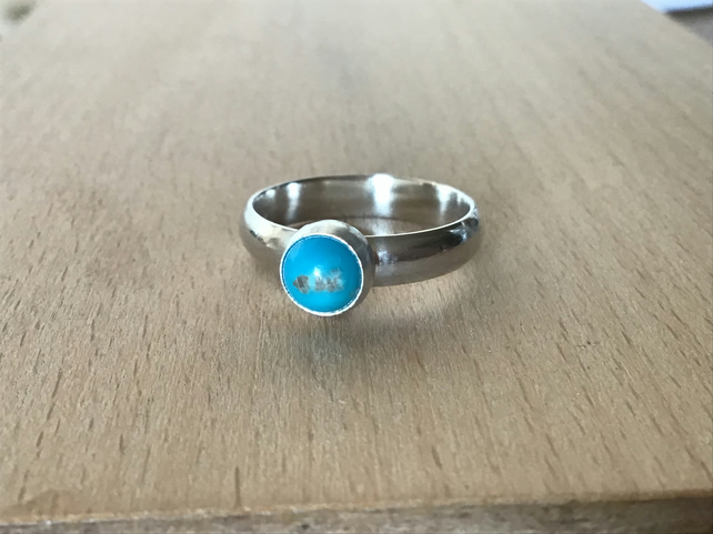 Natural and Untreated Turquoise Sterling and Fine silver gemstone ring