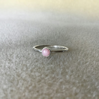 Pink Opal Sterling and Fine silver dainty ring