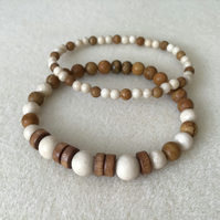 Fossil Jasper Sandalwood and Wood Unisex gemstone beaded bracelet set