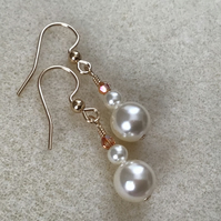 Gold Filled Cream Pearl Metallic Sunshine Crystal dainty drop earrings