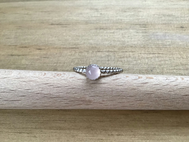 Rose Quartz Sterling and Fine silver dainty Gemstone ring