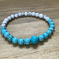 Turquoise and Howlite Unisex beaded Gemstone silver bracelet
