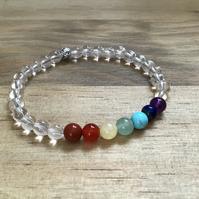 7 Chakra natural gemstone and Sterling silver beaded bracelet