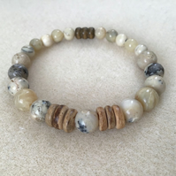 African Opal and Coconut shell beaded Unisex bracelet