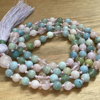 Long hand knotted Morganite Rose Quartz and Aventurine tassel necklace
