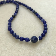 Sodalite and Sterling silver hand knotted dainty necklace 17""