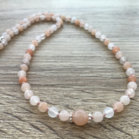 Natural Peach Pink Aventurine and Sterling silver hand knotted necklace 17.5""