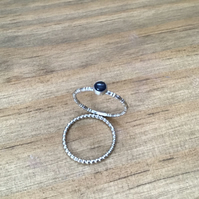 Blue Natural Sapphire Sterling and Fine silver dainty gemstone ring