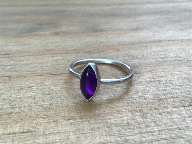 Purple Amethyst Sterling and Fine silver marquise shaped dainty ring