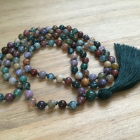 Indian and Moss Agate hand knotted long tassel necklace