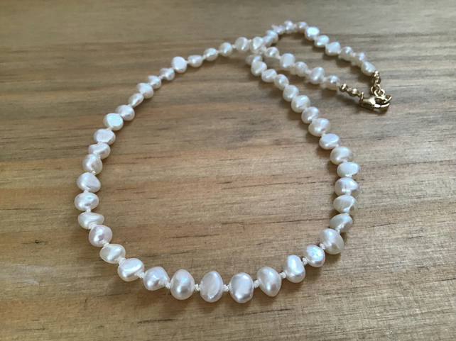 Freshwater Ivory Baroque Pearl and Gold Filled hand knotted silk necklace