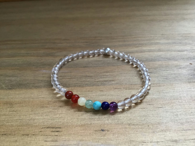 Mini 7 Chakra natural gemstone and Sterling silver beaded bracelet