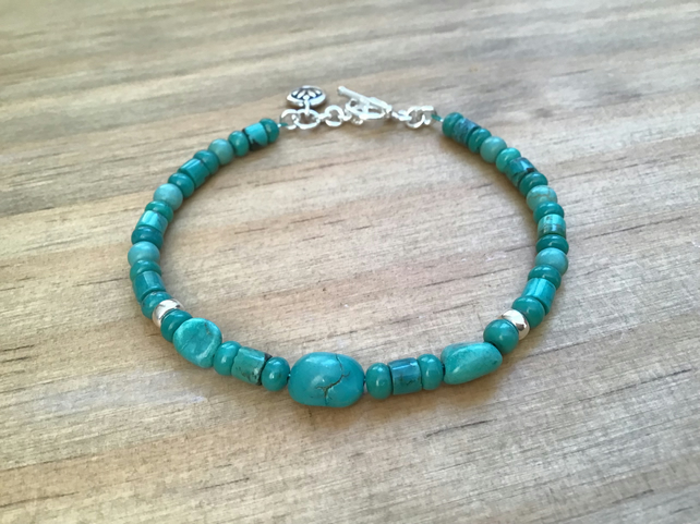 Turquoise nugget and bead Sterling silver charm dainty bracelet