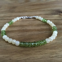 Green Peridot and Yellow Jade Sterling silver dainty gemstone bracelet