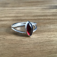 Garnet Sterling and Fine silver double band gemstone ring