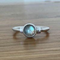 Labradorite Sterling and Fine silver embellished ring
