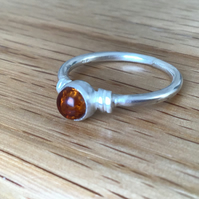 Amber Sterling and Fine silver embellished ring
