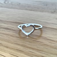 Sterling silver open Heart dainty ring