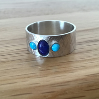 Turquoise and Lapis Lazuli Sterling silver textured wide band gemstone ring