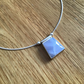 Blue Lace Agate Sterling and Fine silver dainty freeform pendant necklace