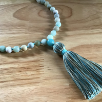 Amazonite smooth frosted hand knotted long silk tassel necklace