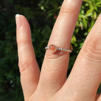 Natural Sunstone Sterling and Fine silver ball band ring