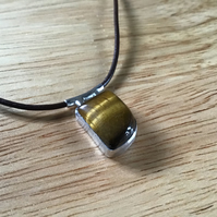 Golden Tigers Eye Sterling and Fine silver freeform unisex pendant necklace