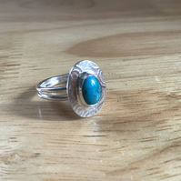 Untreated Turquoise Sterling and Fine silver double band oval ring