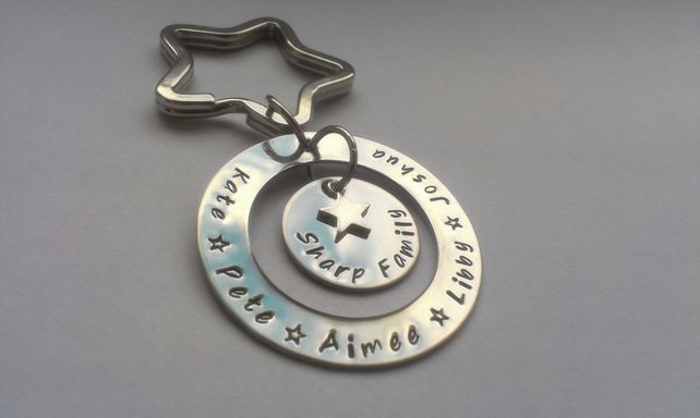 Hand stamped personalised stainless steel family keyring